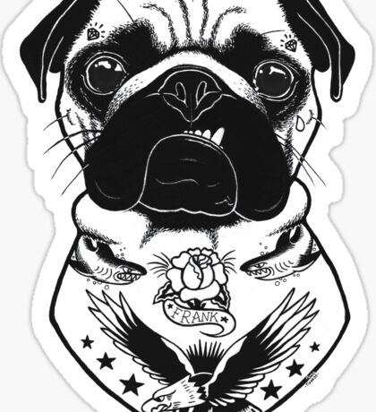 Tattooed Dog - Pug Sticker