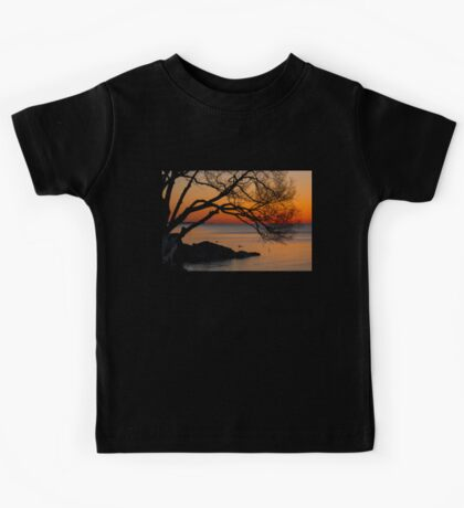 Colorful Quiet Sunrise on the Lake  Kids Tee