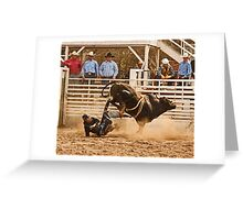 Rodeo Cowboy is Thrown from His Bull Greeting Card