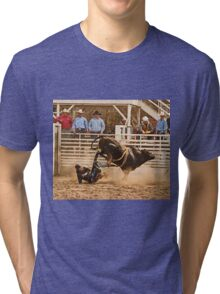 Rodeo Cowboy is Thrown from His Bull Tri-blend T-Shirt