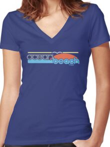 Ocean Beach Women's Fitted V-Neck T-Shirt