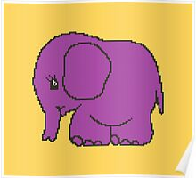 Funny cross-stitch purple elephant Poster