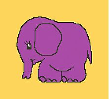 Funny cross-stitch purple elephant Photographic Print