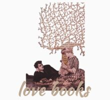 Love books valentine paper art Kids Tee