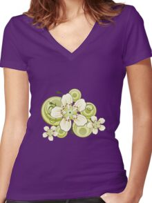 Blackthorn Tree Blossoms Women's Fitted V-Neck T-Shirt