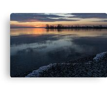 Icy Sunrise - Winter Waterfront Serenity Canvas Print