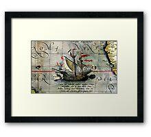 Vintage Detail Ortelius Map Magellan Ship Victoria Framed Print