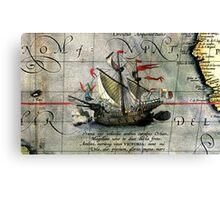 Vintage Detail Ortelius Map Magellan Ship Victoria Canvas Print