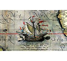 Vintage Detail Ortelius Map Magellan Ship Victoria Photographic Print