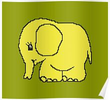 Funny cross-stitch yellow elephant Poster
