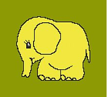 Funny cross-stitch yellow elephant Photographic Print