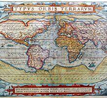 Colorful Antique Vintage World Map Ortelius by pdgraphics