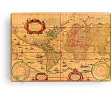 Colorful Antique Vintage Map of the World Canvas Print
