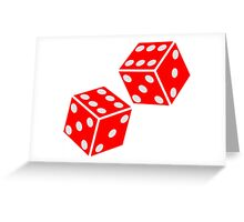 LUCKY, DOUBLE SIX, DICE, RED DICE, Throw the Dice, Casino, Game, Gamble, CRAPS Greeting Card