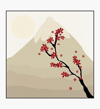 Cute Mount Fuji and Red Cherry Blossoms Photographic Print