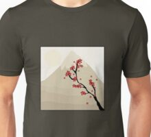 Cute Mount Fuji and Red Cherry Blossoms Unisex T-Shirt