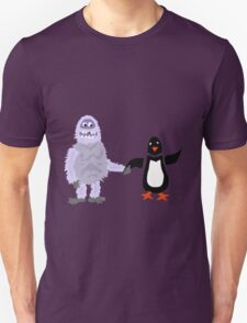 Cool Funny Abominable Snowman and Penguin Love T-Shirt