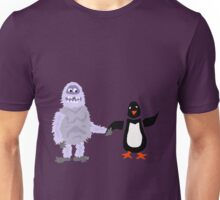 Cool Funny Abominable Snowman and Penguin Love Unisex T-Shirt