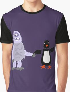 Cool Funny Abominable Snowman and Penguin Love Graphic T-Shirt