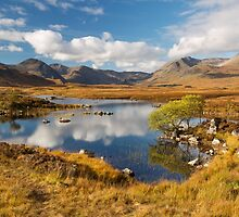 Rannoch Moor. Lochan na-h-achlaise. Blackmount in Autumn. Highland Scotland. by photosecosse /barbara jones