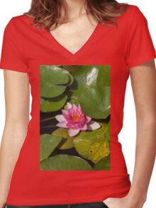 waterlily in the lake Women's Fitted V-Neck T-Shirt