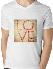 Cute Vintage Red Floral Love Mens V-Neck T-Shirt