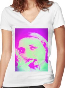 Distorted Vampire look with blood dripping from mouth,  Women's Fitted V-Neck T-Shirt