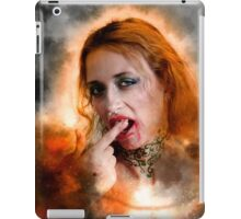 Vampire look with blood dripping from mouth iPad Case/Skin