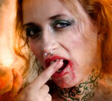 Vampire look with blood dripping from mouth Sticker