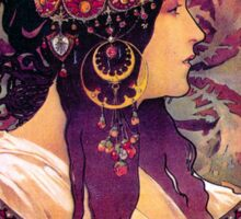 Colorful Art Nouveau Alfons Mucha Poster Sticker