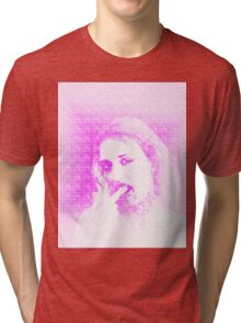 Vampire look with blood dripping from mouth Tri-blend T-Shirt