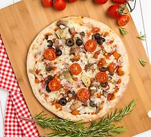 Pizza with bacon, olives and tomato by homydesign