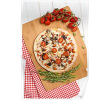 Pizza with bacon, olives and tomato Poster