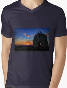 Sunset behind an old ruined windmill  Mens V-Neck T-Shirt