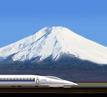 Mount Fuji and the Bullet Train JR 500, Japan by Atanas NASKO