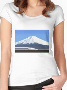 Mount Fuji and the Bullet Train JR 500, Japan Women's Fitted Scoop T-Shirt