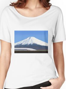 Mount Fuji and the Bullet Train JR 500, Japan Women's Relaxed Fit T-Shirt