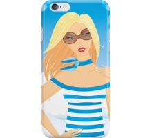 Blonde girl in striped dress iPhone Case/Skin