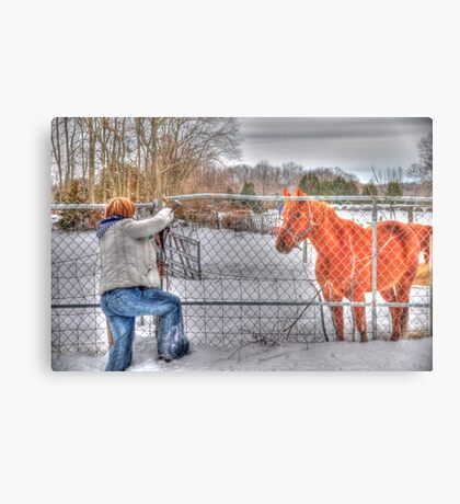 Lina and the Horse HDR Metal Print