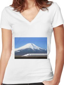 Mount Fuji and Tokaido Shinkansen, Shizuoka, Japan Women's Fitted V-Neck T-Shirt