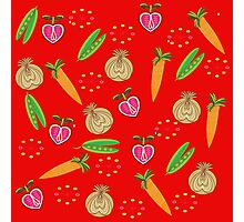 Retro Fruit Vegetables Illustration Photographic Print