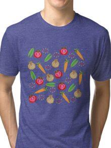 Retro Fruit Vegetables Illustration Tri-blend T-Shirt