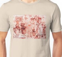Heart And Its Blood Vessels. Leonardo Da Vinci,Anatomic Study, Red Unisex T-Shirt