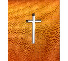 Gold and White Christian Cross Photographic Print