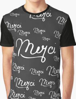 """Merci"" French Quote Black & White Pattern Graphic T-Shirt"