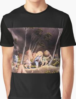 'Peasants Surprised by a Violent Storm' by Katsushika Hokusai (Reproduction) Graphic T-Shirt