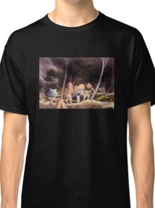 'Peasants Surprised by a Violent Storm' by Katsushika Hokusai (Reproduction) Classic T-Shirt