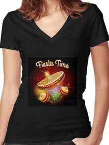 fiesta time theme Women's Fitted V-Neck T-Shirt