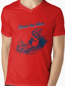 Surfer riding big wave  Mens V-Neck T-Shirt