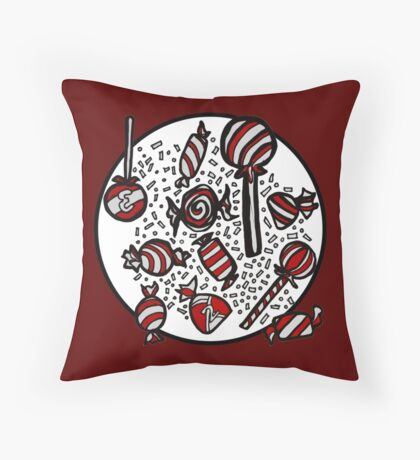 Wrapped Candies in Red Throw Pillow